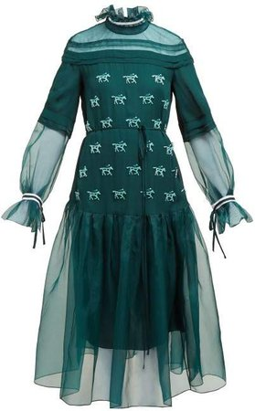 Horse Applique Silk Dress - Womens - Green Multi