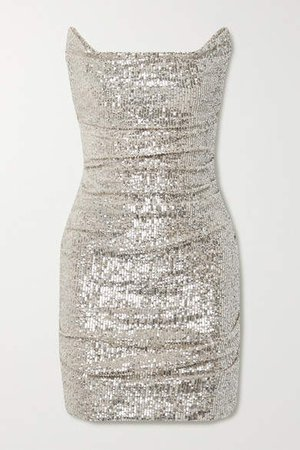 Ruched Sequined Tulle Mini Dress - Silver