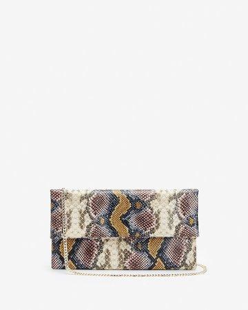 Multicolor Snakeskin Textured Clutch