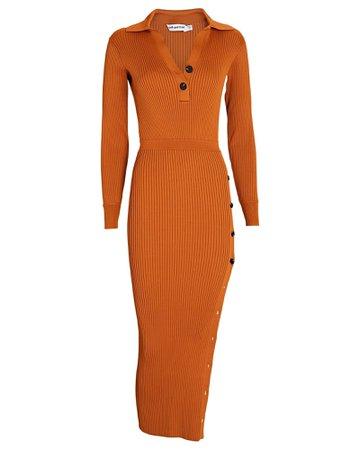 Self-Portrait Rib Knit Polo Midi Dress | INTERMIX®