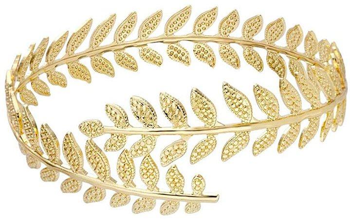Amazon.com: MANZHEN Fashion Adjustable Leaf Cuff Bangle Infinity Gold-Tone Upper Arm Cuff Bracelet (Rose Gold): Clothing