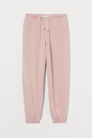 Cotton-blend joggers - Powder pink - Ladies   H&M GB