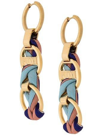 Emilio Pucci Logo Engraved Woven Chain Drop Earrings For Women | Farfetch.com