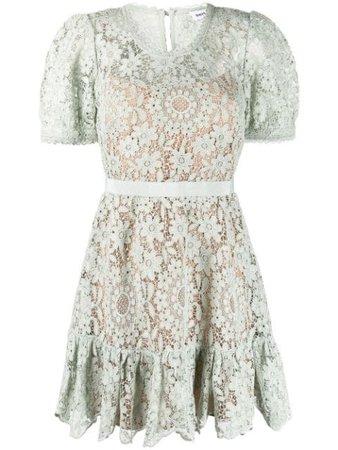 Self-Portrait Lace Panelled Mini Dress - Farfetch