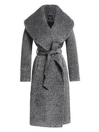 Sentaler Bouclé Long Wide Shawl Collar Wrap Coat | SaksFifthAvenue