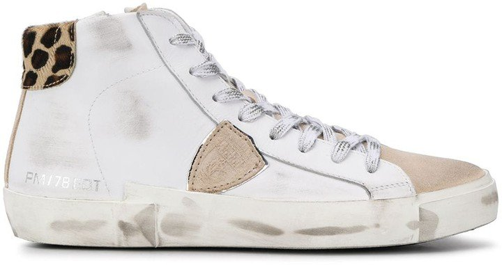 Philippe Model Paris Logo Patch Hi-Top Sneakers