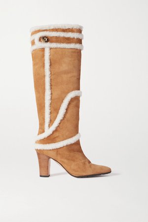Cluntius Shearling-trimmed Suede Knee Boots - Tan