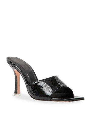 Black Suede Studio Valentina Mock-Croc Slide Sandals | Neiman Marcus