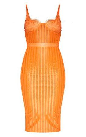 Orange Lace Detail Striped Mesh Midi Dress   PrettyLittleThing