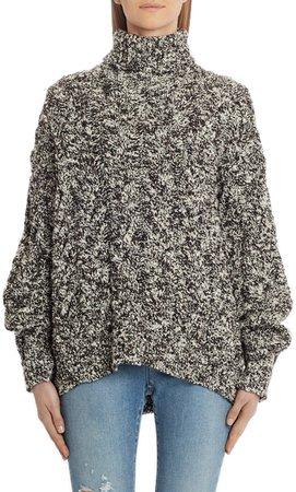 Melange Wool Blend Oversized Turtleneck Sweater