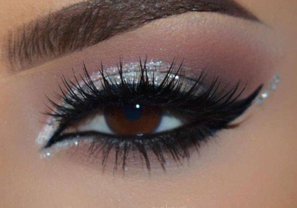 Silver Glitter Eye Makeup