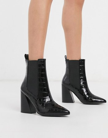 ASOS DESIGN Rocco pointed heeled boots in black croc | ASOS