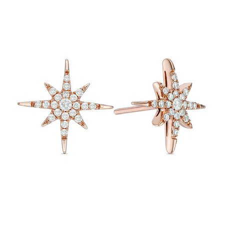1/4 CT. T.W. Diamond Eight-Point Star Stud Earrings in 10K Rose Gold | Online Exclusives | Collections | Zales