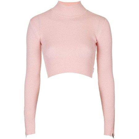 Light Pink Long Sleeve Turtleneck Crop Top
