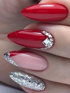 Red / Silver Sparkle Nails