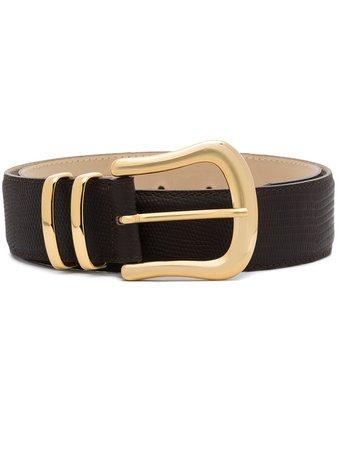 Black & Brown Marina lizard-effect leather belt - FARFETCH