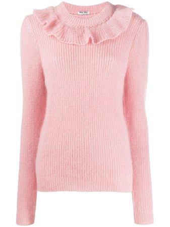 Miu Miu ruffled detailed knitted sweater pink