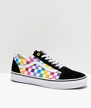 Vans Old Skool Black, White & Rainbow Checkerboard Skate Shoes   Zumiez