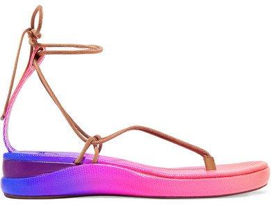 Wave Degrade Lizard-effect Leather Sandals - Pink