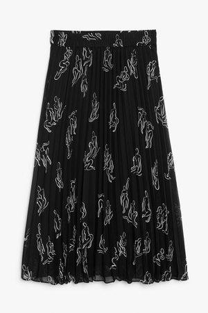 Pleated midi skirt - Abstract print - Midi skirts - Monki WW