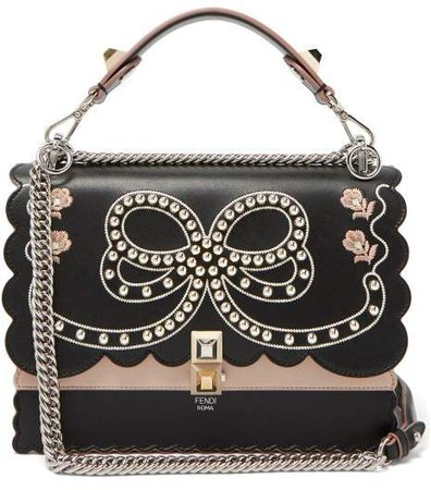 Kan I Bow Embroidery Leather Shoulder Bag - Womens - Black Multi