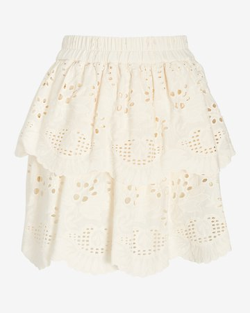 High Waisted Eyelet Lace Pull-on Mini Skirt | Express