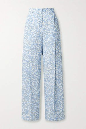 Loya Floral-print Woven Wide-leg Pants - White