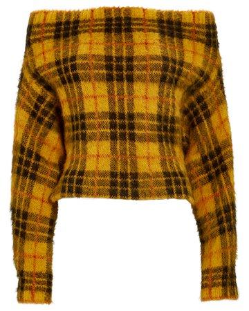 Monse Off-the-Shoulder Tartan Sweater | INTERMIX®
