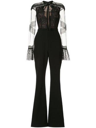 Ingie Paris Lace-Detail Flared Jumpsuit | Farfetch.com