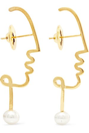 Paola Vilas | Henri gold-tone pearl earrings | NET-A-PORTER.COM