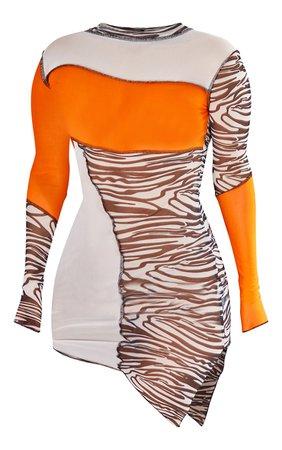 Orange Zebra Contrast Stitch Asymmetric Hem Dress | PrettyLittleThing USA
