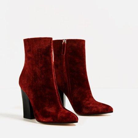 red velvet boots