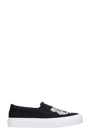 Kenzo K-skate Tiger Sneakers In Black Canvas
