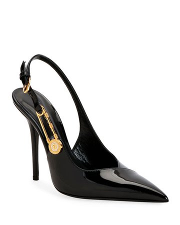 Versace Safety Pin Slingback Pumps   Neiman Marcus