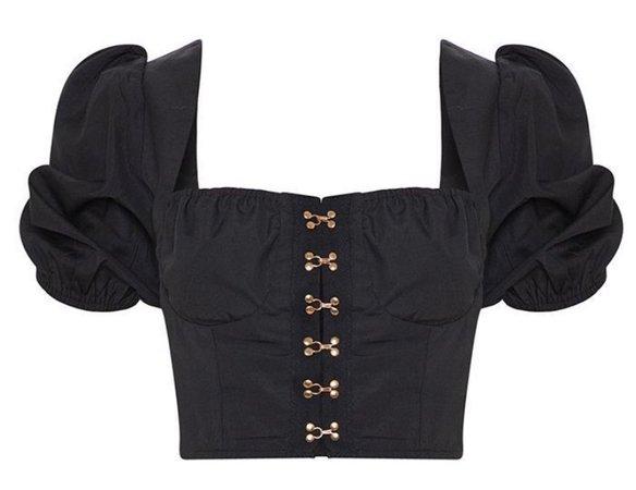 Black Puffy Sleeve Top