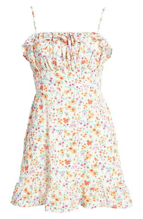 Row A Floral Ruffle Minidress   Nordstrom