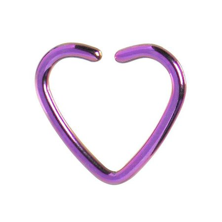 16 Gauge Purple Anodized Hollow Heart Daith Cartilage Closure Ring – BodyCandy