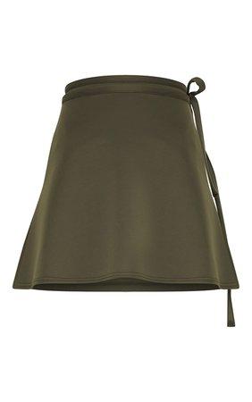 Black Wrap Scuba Mini Skirt | PrettyLittleThing USA