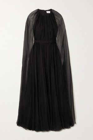 Cape-effect Silk-chiffon Gown - Black