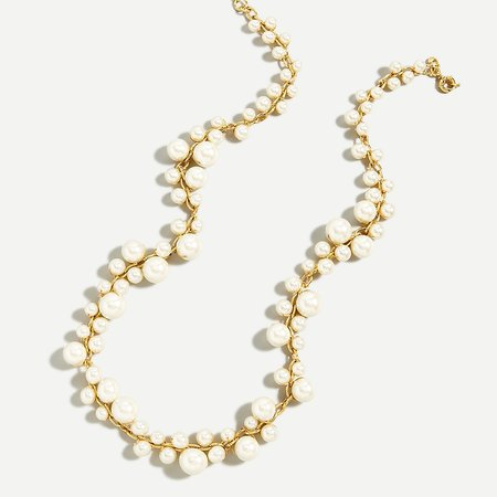 J.Crew: Mixed-pearl Chain Necklace For Women white