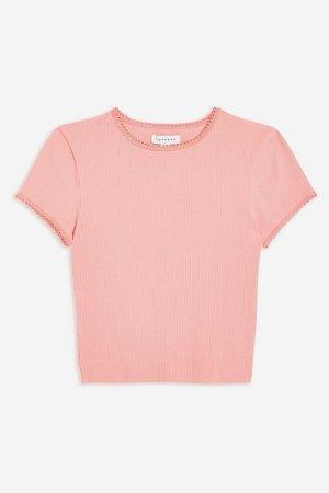 PETITE Pink Picot Trim T-Shirt | Topshop