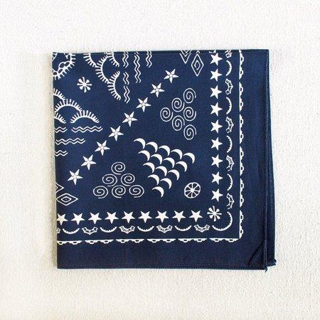 Hand Printed Bandana Navy Blue Elements Design Gift for | Etsy