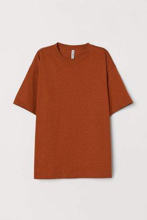 Wide-cut Cotton T-shirt - Orange