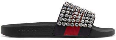 Pursuit Crystal-embellished Leather And Rubber Slides - Black