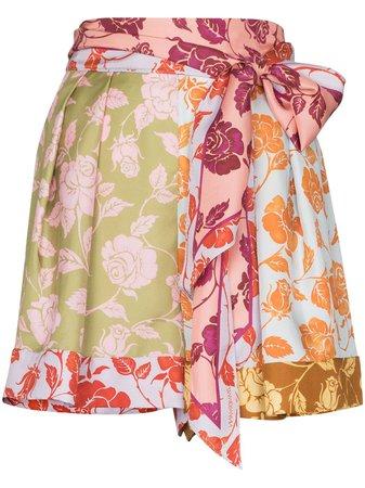 Zimmermann Rose Print Panelled Silk Shorts - Farfetch