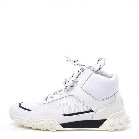 CHANEL Calfskin Mesh Lycra Womens Logo High Top Sneakers 39 White 567640