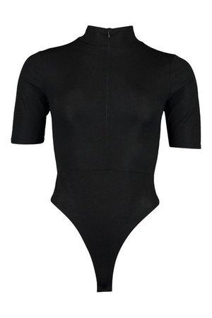 Half Zip Ribbed Bodysuit | boohoo