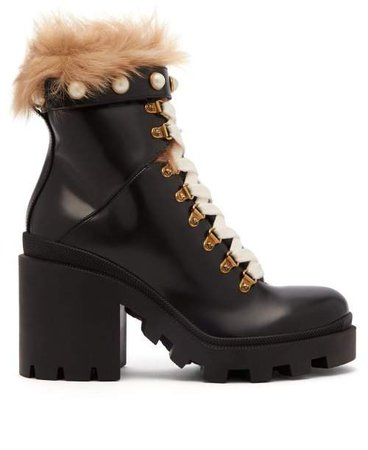 Shearling Trimmed Leather Ankle Boots - Womens - Black