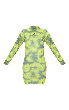 PRETTYLITTLETHING Green Tie Dye Ribbed High Neck Long Sleeve Bodycon Dress   PrettyLittleThing