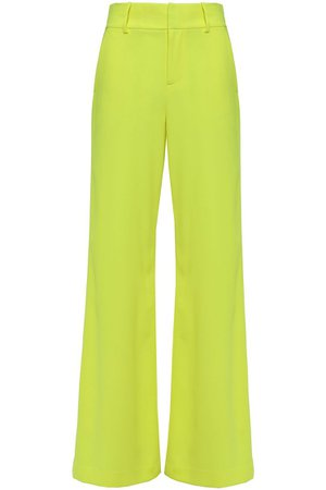 Bright yellow Neon crepe wide-leg pants | Sale up to 70% off | THE OUTNET | ALICE + OLIVIA | THE OUTNET